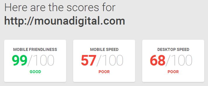 Score de test compatibilité mobile et chargement de Mouna Digital